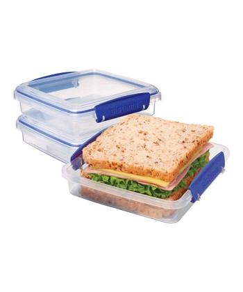 Blue KLIP IT Sandwich Box - Set of Three
