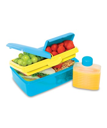 Blue 50-Oz. Slimline Quaddie Lunch Box & Water Bottle