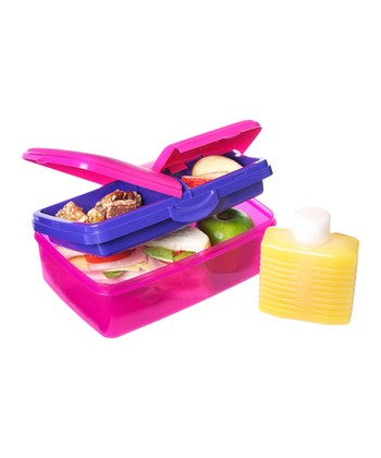 Pink 50-Oz. Slimline Quaddie Lunch Box & Water Bottle