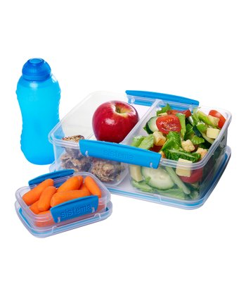Blue Three-Piece Lunch Box Container Set