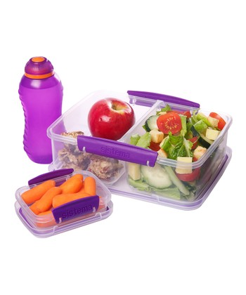 Purple Three-Piece Lunch Box Container Set