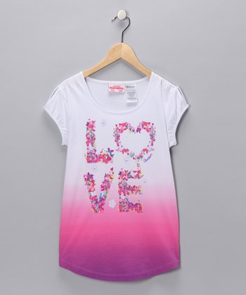 Bright White & Purple 'Love' Tee - Girls