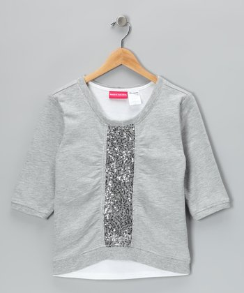 Light Gray Sequin Tank & Sweatshirt