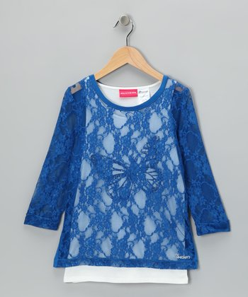 Princess Blue Butterfly Tank &  Lace Top