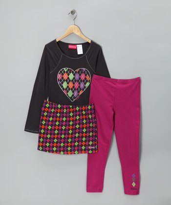 Black & Pink Heart Skirt Set - Girls