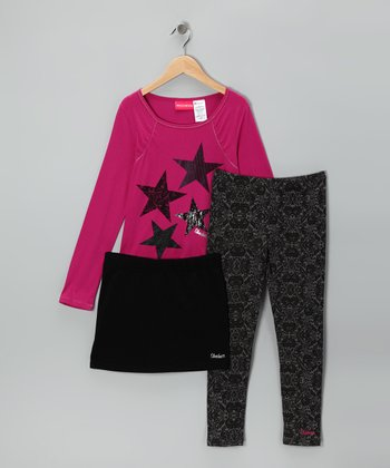 Fuchsia & Black Star Skirt Set