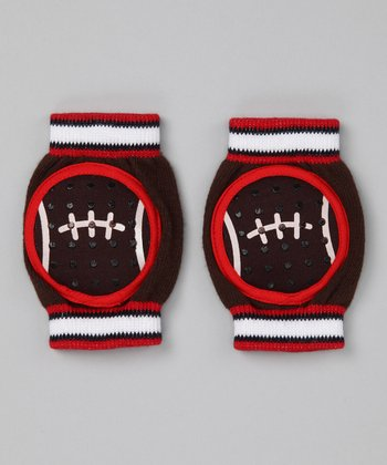 Brown & Red Football Gripper Kneepads
