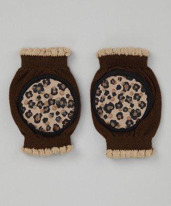 Brown Cheetah Gripper Knee Pads