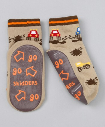 Brown Monster Truck Gripper Socks