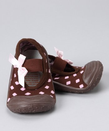 Brown & Pink Polka Dot Gripper Mary Jane