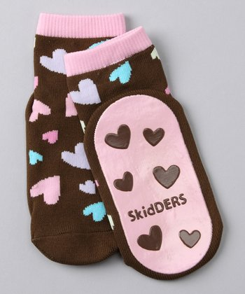 Brown Happy Hearts Gripper Socks
