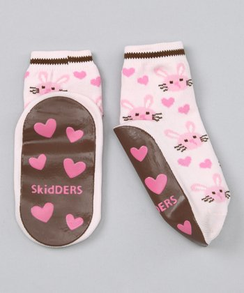 Skidders Pink Bunny Heart Gripper Socks