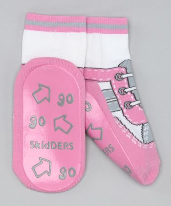 Pink & Gray Sneaker Gripper Socks