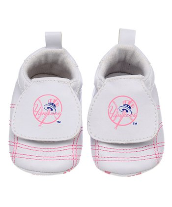 New York Yankees White & Pink Sports Bootie - Kids
