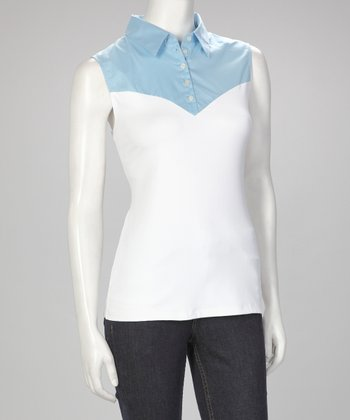 Sky Blue & White Skinnyshirt No-Bulk Collared Sleeveless Top