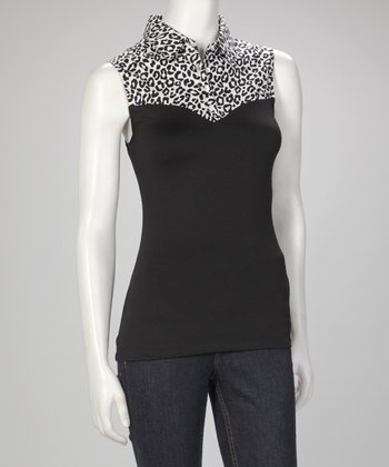 Black & White Leopard Skinnyshirt No-Bulk Collared Sleeveless Top