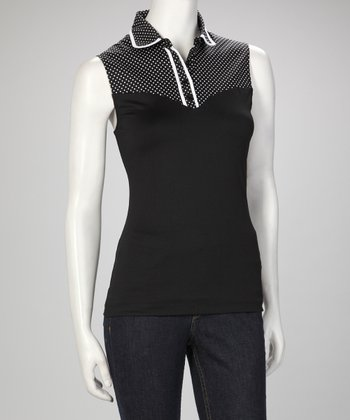 Black & White Piping Skinnyshirt No-Bulk Collared Sleeveless Top