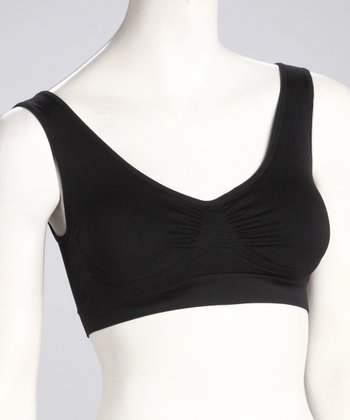Black Seamless Lounge Bra - Women