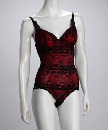 Cherry Red Lace Shaper Bodysuit - Women