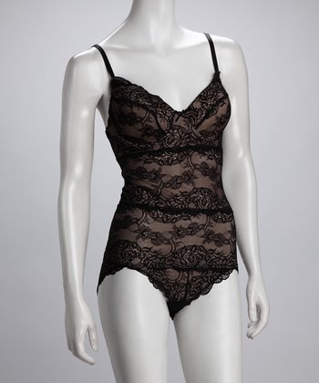 Tan & Black Lace Shaper Bodysuit - Women