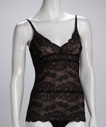 Tan & Black Lace Shaper Camisole - Women