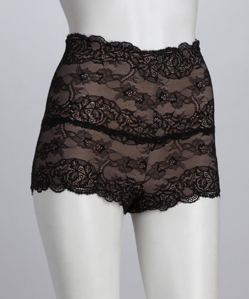 Tan & Black Lace Shaper Boyshorts - Women