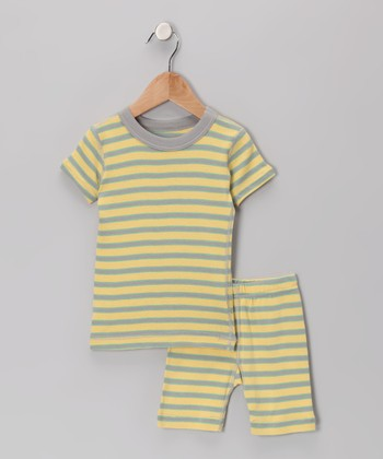 Gray Stripe Organic Pajama Top & Shorts - Infant, Toddler & Boys