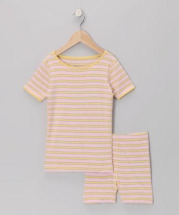 Pink Stripe Organic Pajama Top & Shorts - Infant, Toddler & Girls