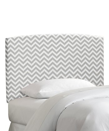 Gray Zigzag Upholstered Headboard