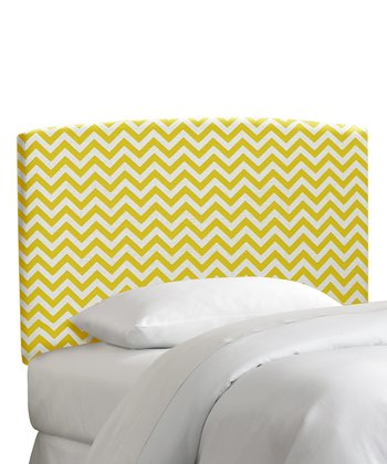 Yellow Zigzag Upholstered Headboard