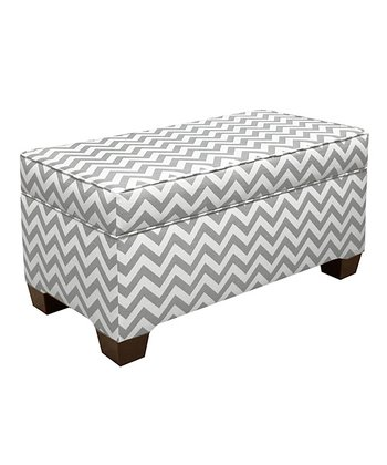 Gray Zigzag Storage Bench