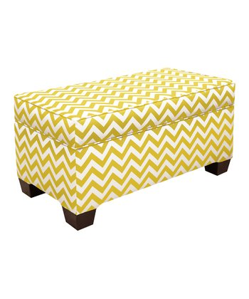 Yellow Zigzag Storage Bench
