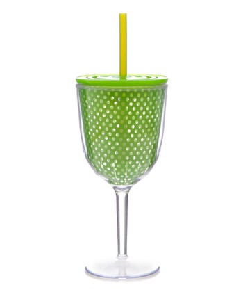 Lime Swiss Dot 13-Oz. Wine Glass & Straw
