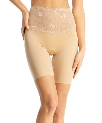Nude Lace High-Waist Shaper Shorts - Women