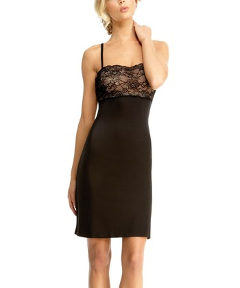 Black & Nude Lace Slip - Women