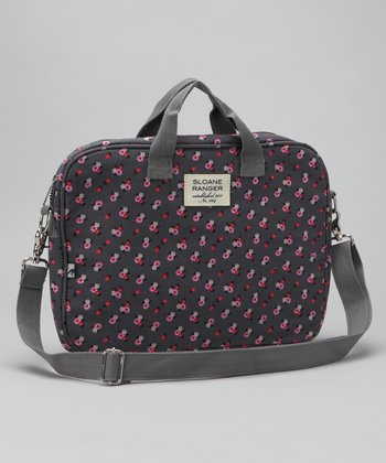 Gray Canvas Ditzy Floral Laptop Bag