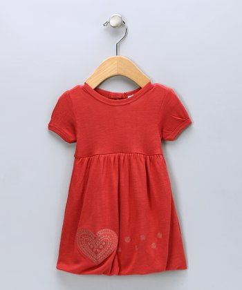 Cranberry Heart Organic Bubble Dress - Infant