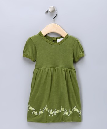 Green Turtle Embroidered Organic Bubble Dress - Infant