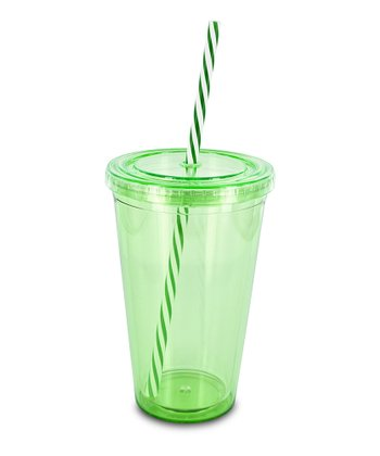Green Swirly Straw 16-Oz. Eco Cold Drink Cup