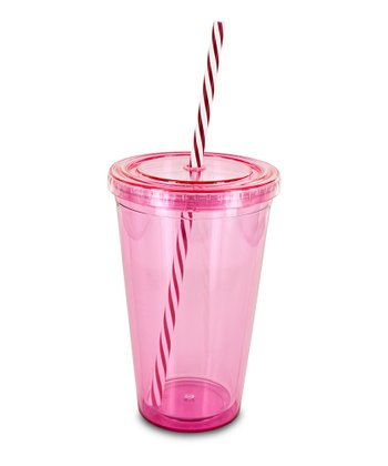 Red Swirly Straw 16-Oz. Eco Cold Drink Cup
