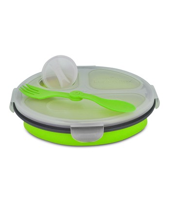 Green Triple-Compartment Round Eco Lunch Box