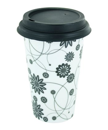 White & Black Floral 12-Oz. Ceramic Eco Cup