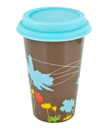 Brown & Blue Flower 12-Oz. Ceramic Eco Cup