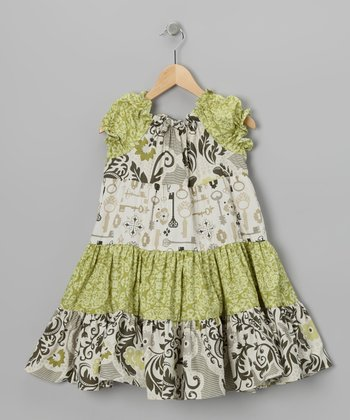 Green Lock & Key Tiered Peasant Dress - Toddler & Girls
