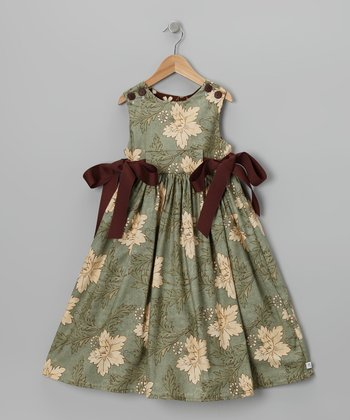 Green & Brown Floral Sash Dress - Toddler & Girls