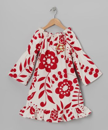 Red & White Floral Peasant Dress - Toddler & Girls
