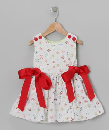 White & Red Snowflake Sash Dress - Toddler & Girls