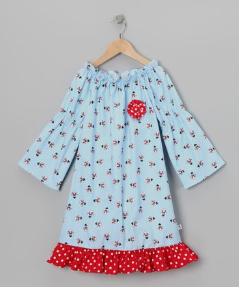 Blue Snowman Peasant Dress - Toddler & Girls