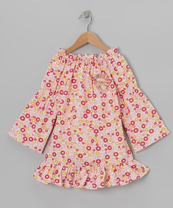 Pink Star Bright Peasant Dress - Toddler & Girls