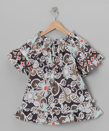 Gray Floral Swing Peasant Dress - Toddler & Girls